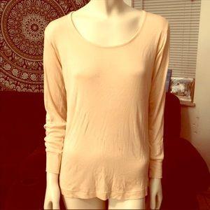 Wintersilks 100% silk long sleeve shirt top beige